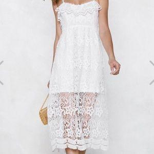 Nasty Gal Crochet Midi Dress Size: 8